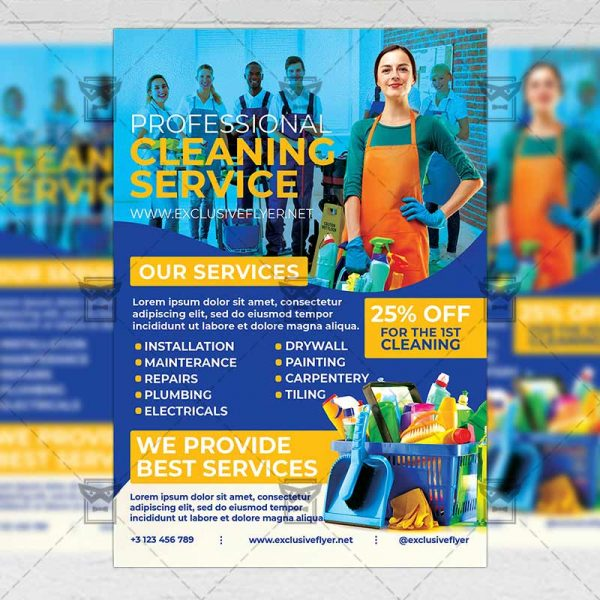 Professional Cleaning Service - Flyer PSD Template