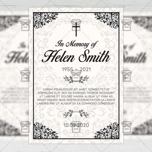 Vintage Funeral Card - Flyer PSD Template