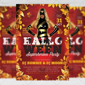 Halloween Superheroes Party - Flyer PSD Template