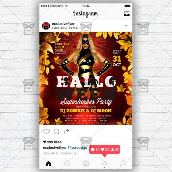Halloween Superheroes Party - PSD Templates for Instagram
