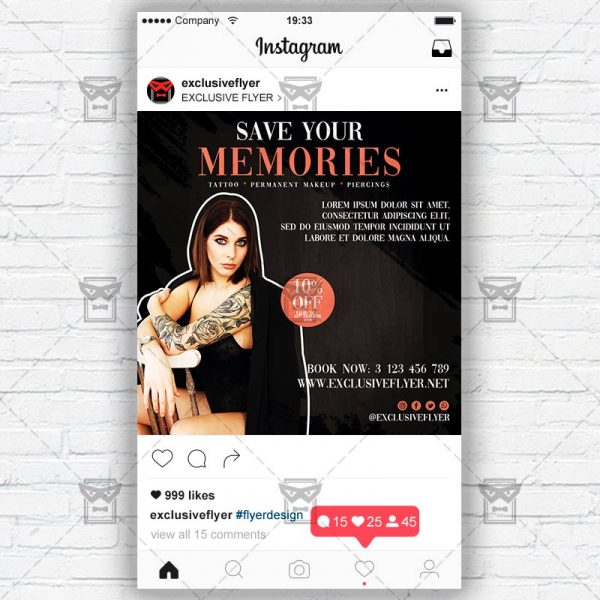 Tattoo Artist - Instagram Post and Stories PSD Template
