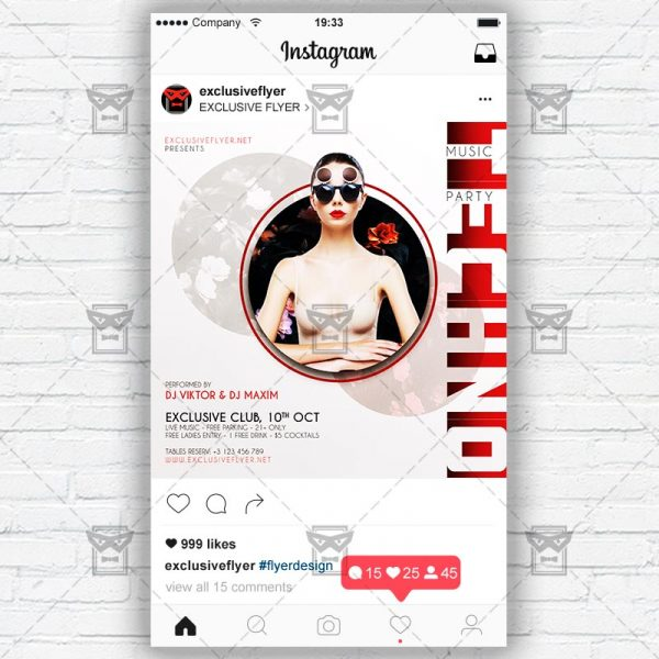 Techno Music Party - Instagram Post and Stories PSD Template