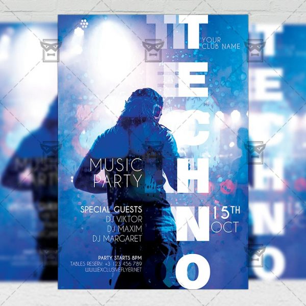 Techno Party - Flyer PSD Template