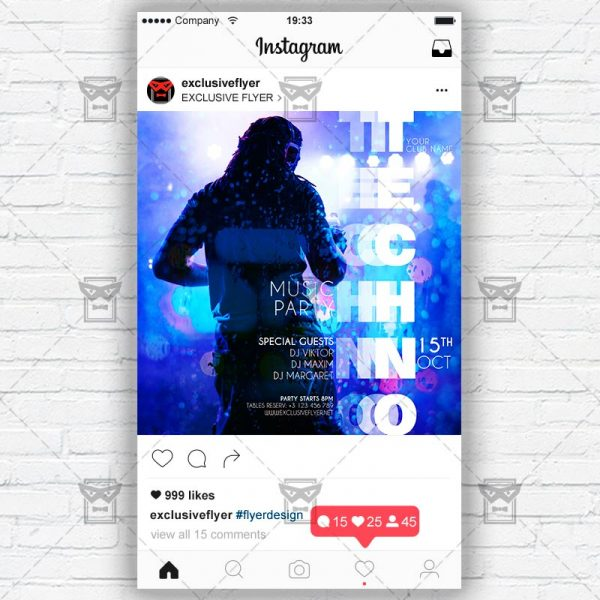 Techno Party - Instagram Post and Stories PSD Template