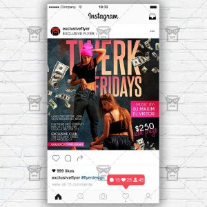 Twerk Fridays - Instagram Post and Stories PSD Template
