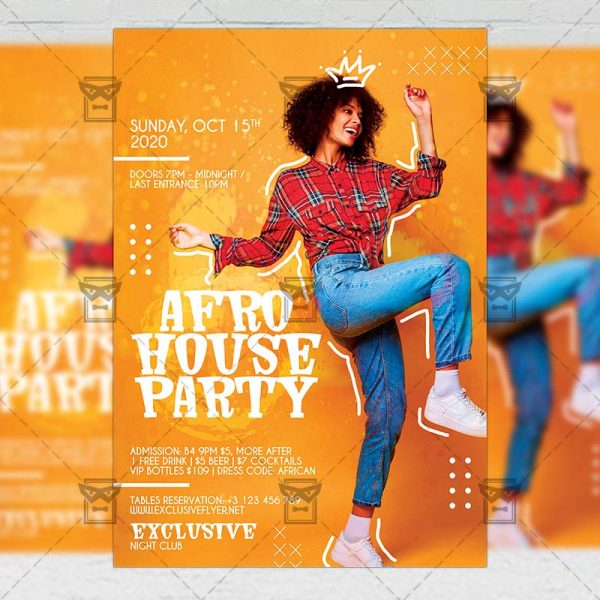 Afro House Party - Flyer PSD Template
