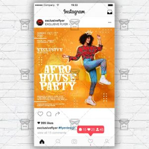 Afro House Party - Instagram Post and Stories PSD Template
