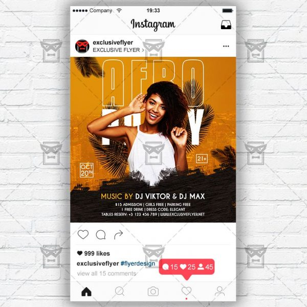 Afro Party - Instagram Post and Stories PSD Template