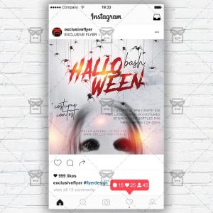 Halloween Bash - Instagram Post and Stories PSD Template