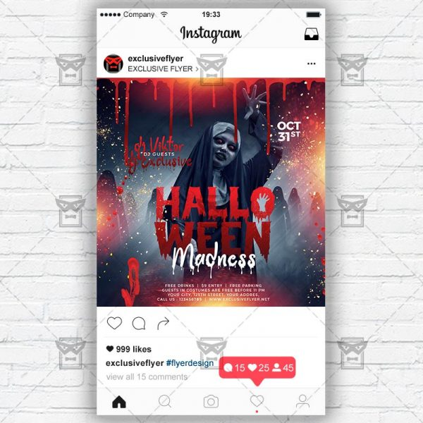 Halloween Madness - Instagram Post and Stories PSD Template