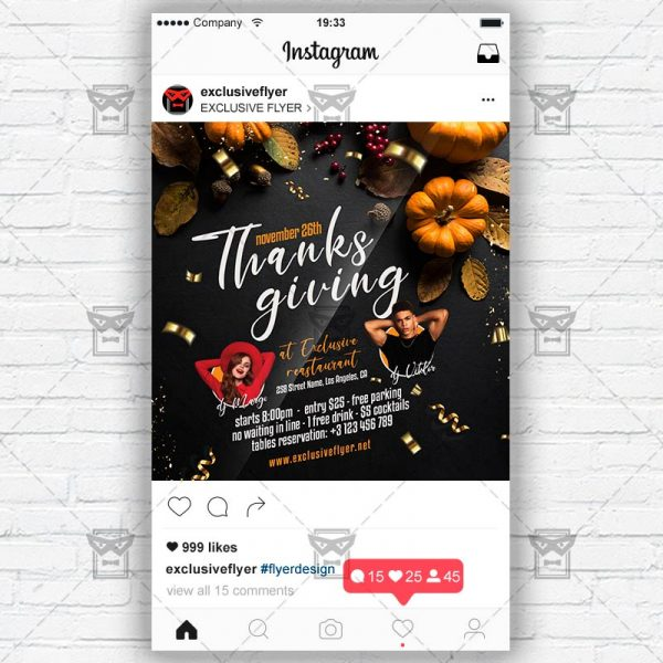 Happy Thanksgiving - Instagram Post and Stories PSD Template