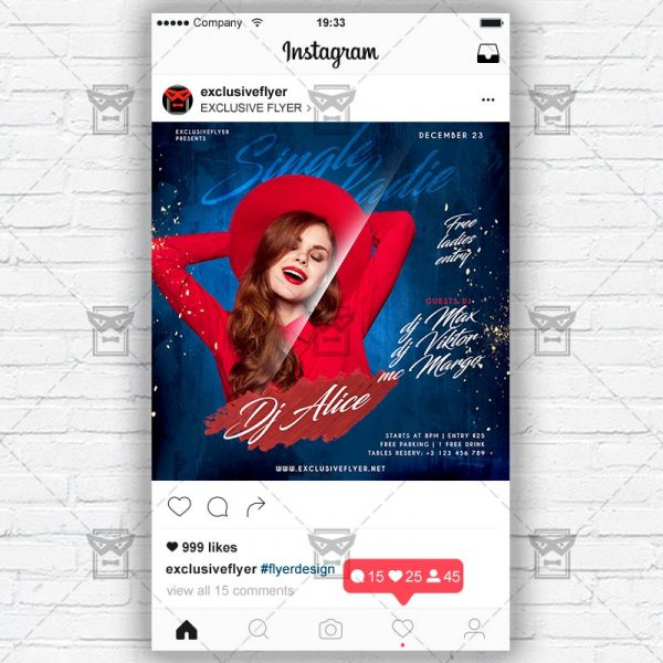 Single Ladies - Instagram Post and Stories PSD Template