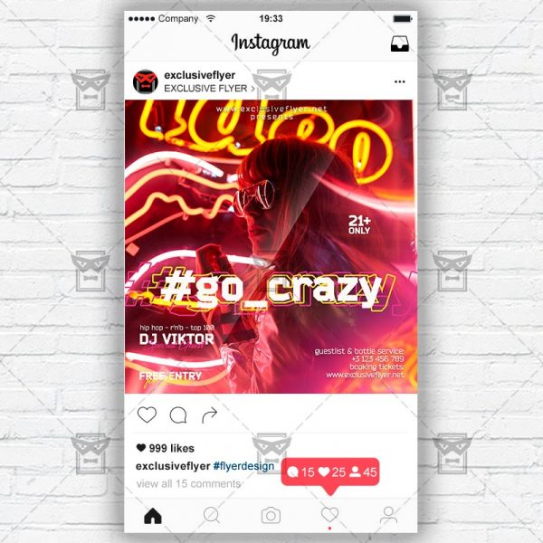 Go Crazy Night - Instagram Post and Stories PSD Template