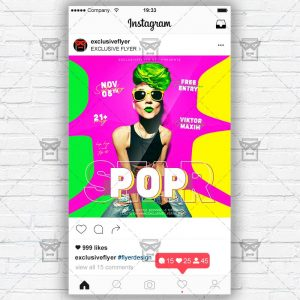 Pop Star - Instagram Post and Stories PSD Template
