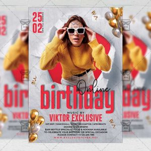 Online Birthday - Flyer PSD Template