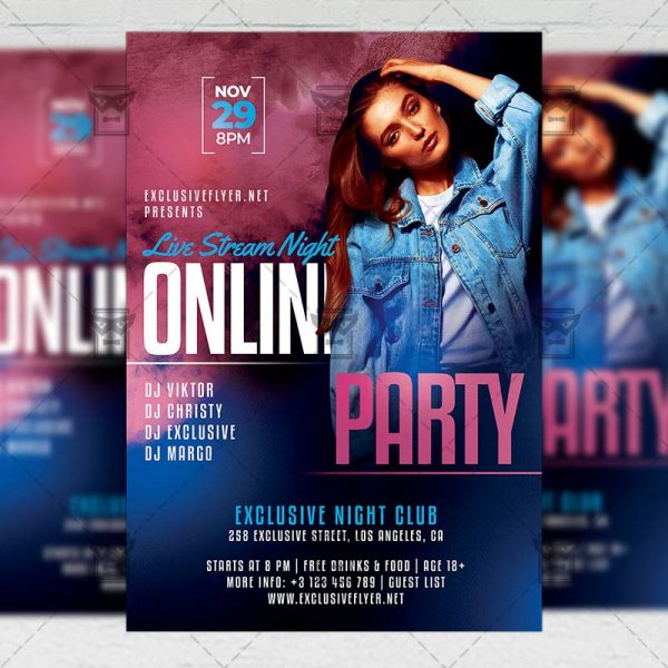 Online Party - Flyer PSD Template
