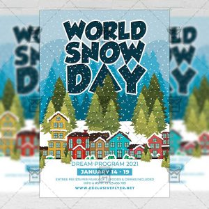 World Snow Day - Flyer PSD Template