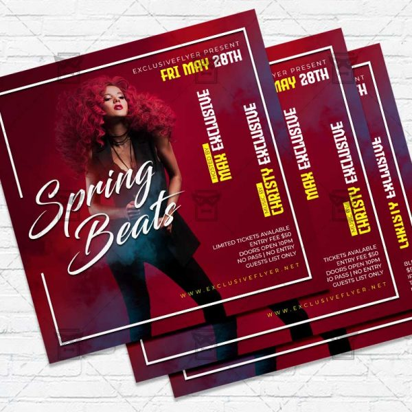 Spring Beats- Flyer PSD Template