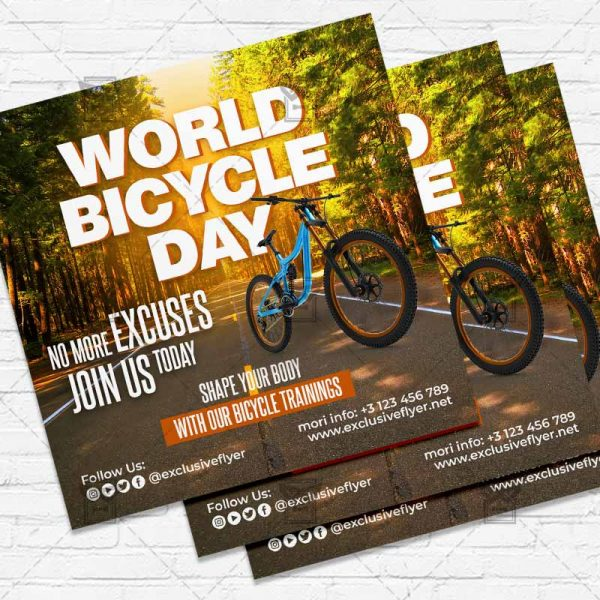 World Bicycle Day - Flyer PSD Template