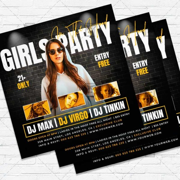 Girls In Th Hood - Flyer PSD Template
