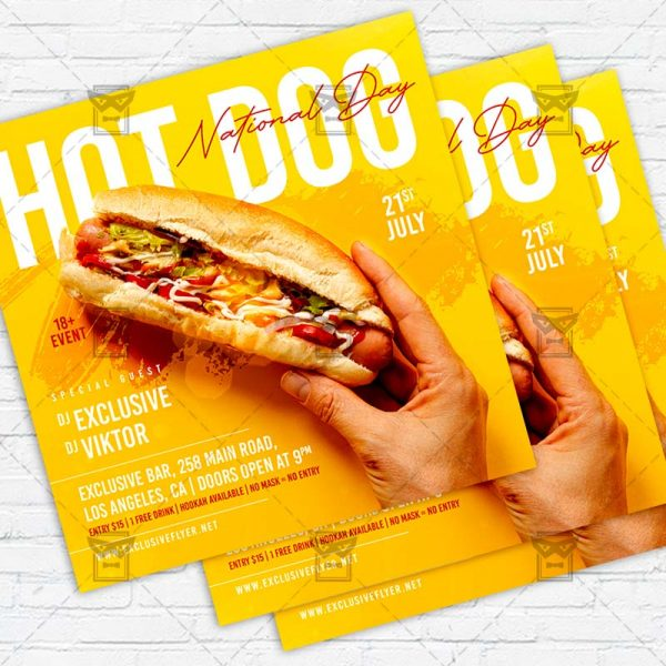 National Hot Dog Day - Flyer PSD Template