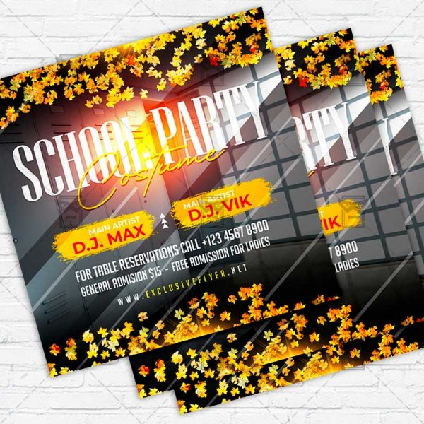 Costume School Party - Flyer PSD Template