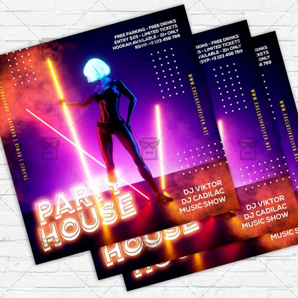 Party House - Flyer PSD Template   ExclusiveFlyer